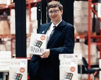 Bill Gates holding brand new Windows 3.0 box